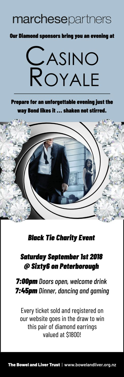 Prepare for an unforgettable evening just the way Bond likes it ... shaken not stirred. Black Tie Charity Event. Saturday September 1st 2018. @Sixty6 on Peterborough. 7:00pm Doors open, welcome drink. 7:45pm Dinner, dancing and gaming. Every ticket sold and registered on our website goes in the draw to win this pair of diamond earrings valued at $1800!